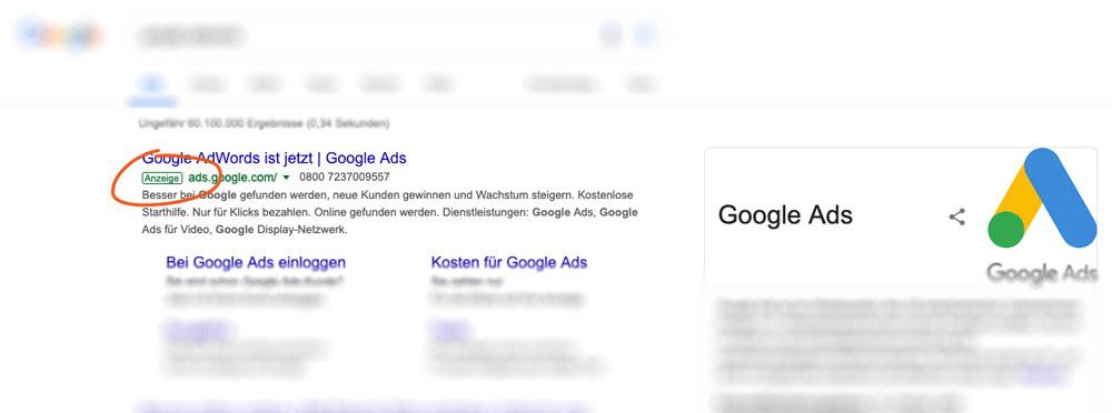 Google Anzeigen sind gekennzeichnet